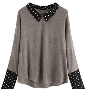 Tops - Women's loose long sleeve knitted shirt